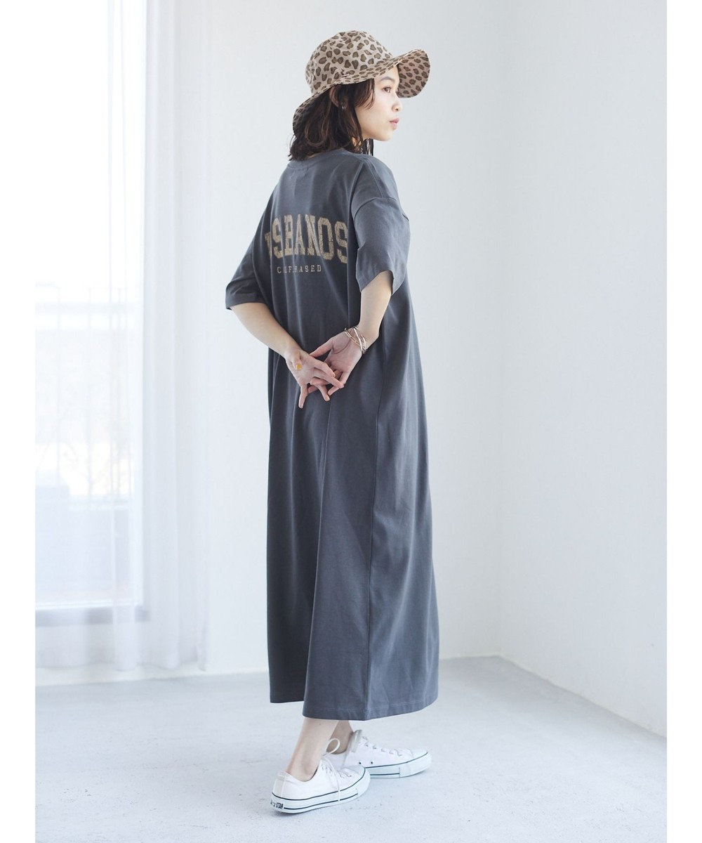 Green Parks バックプリントTシャツワンピース Charcoal Gray