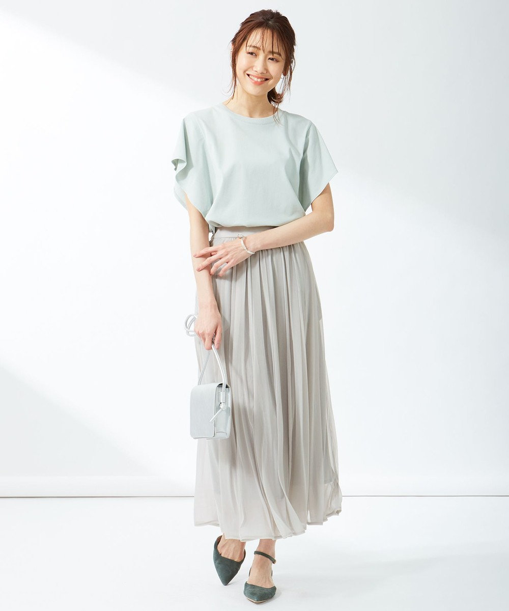 組曲 L 【洗える】シアージャージ フレアスカート ライトグレー系
