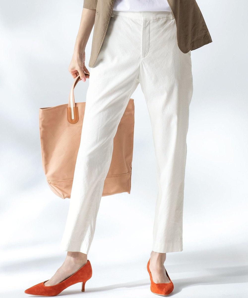 23区 L 【中村アンさん着用】リネンビスコーステーパード パンツ(番号H52) ホワイト系