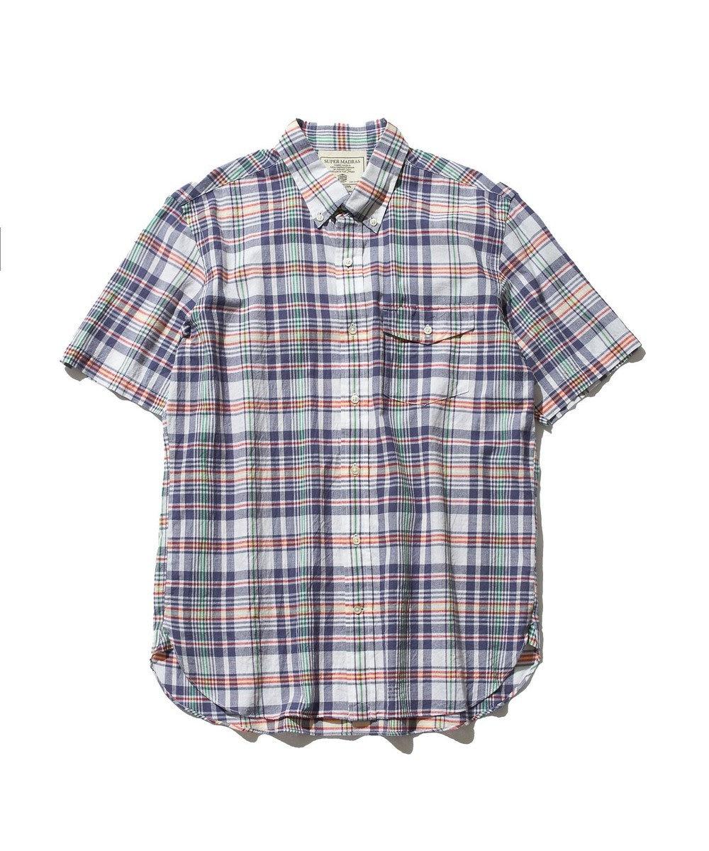 J.PRESS MEN インドマドラスチェック ボタンダウンシャツ ダルブルー系3