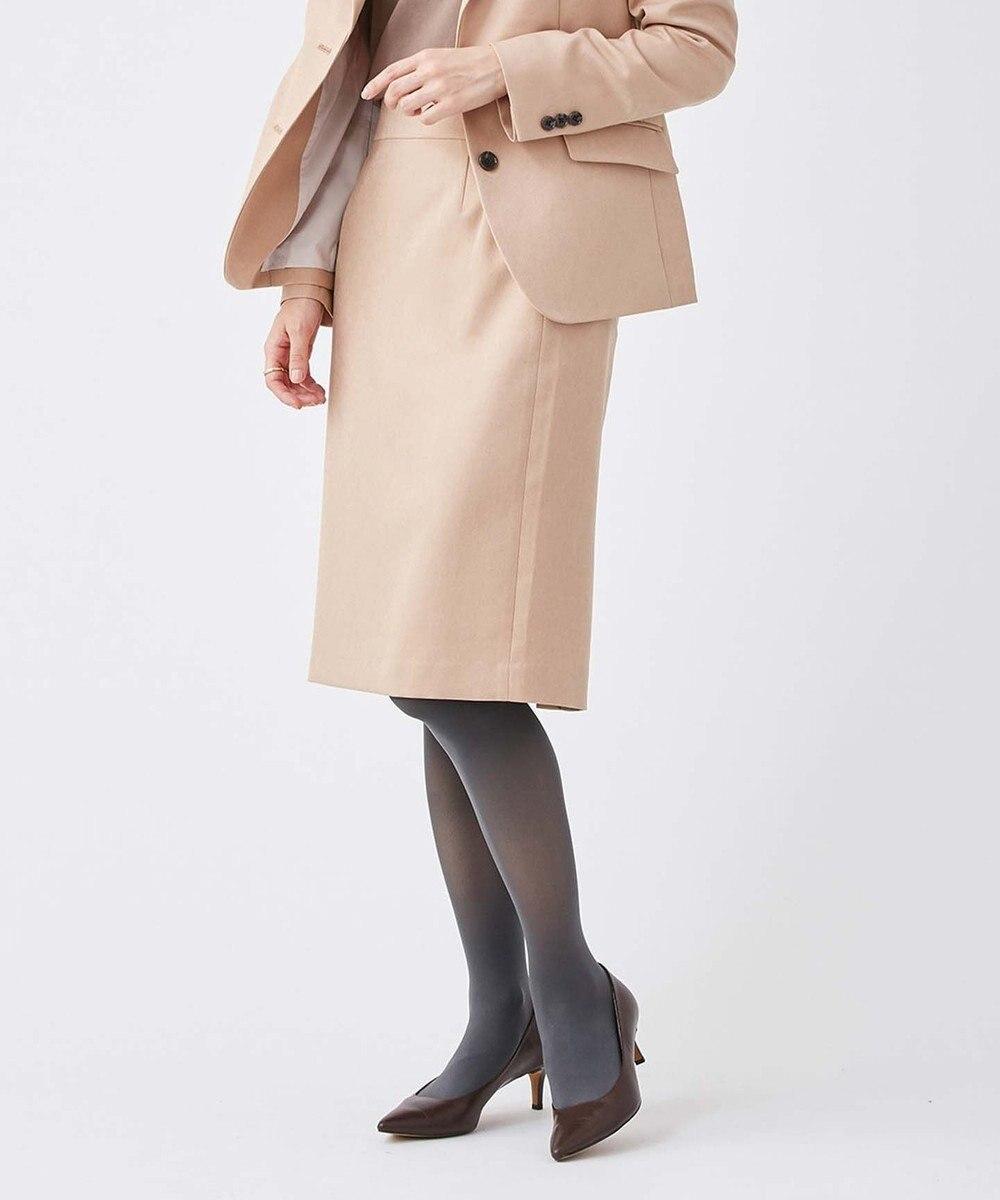 KASHIYAMA EASY 【受注生産】<WASHABLE>ウールライク ポリーツイル スリムタイトスカート(サイズ3号~29号) ピンクベージュ