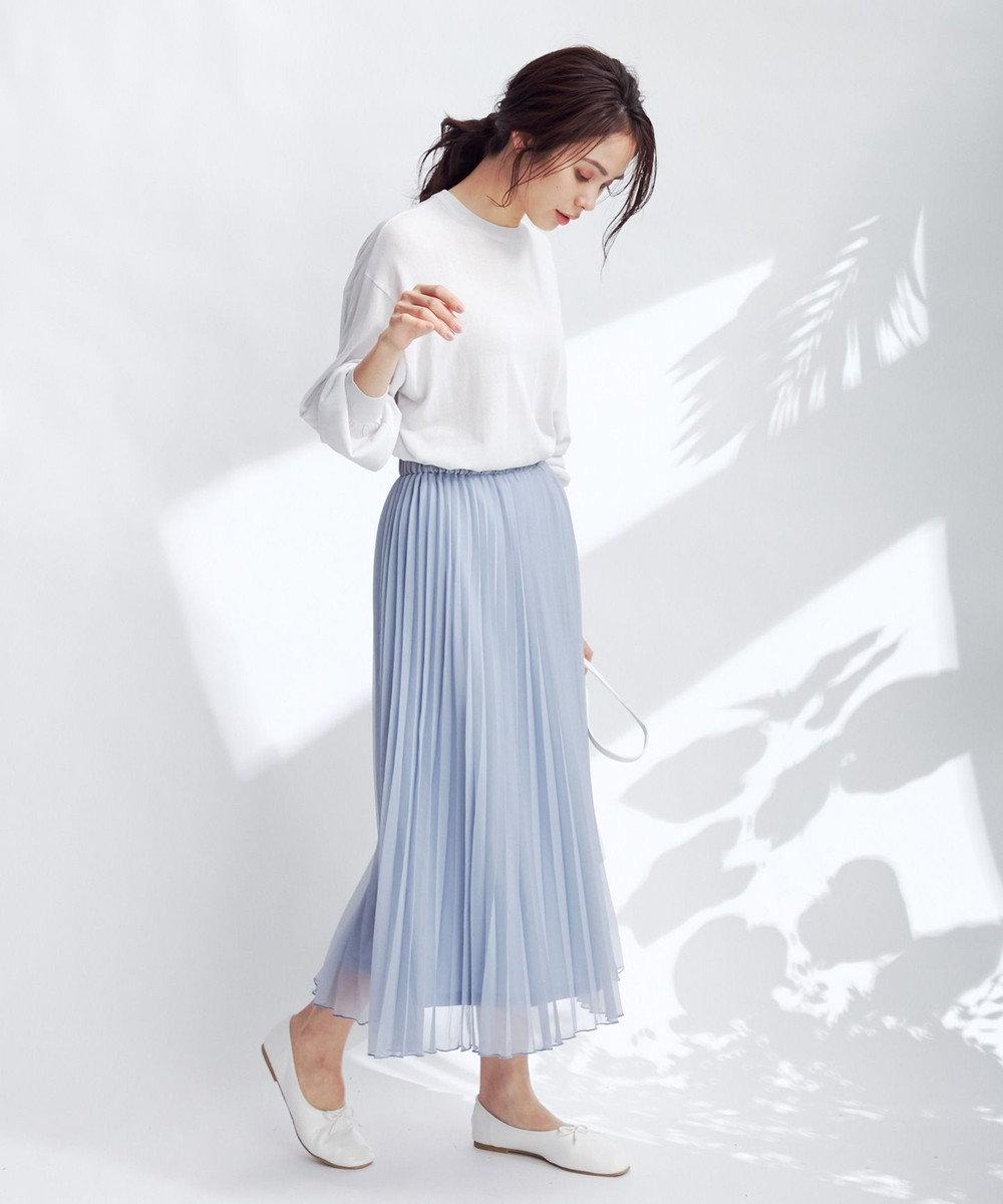 any FAM 【洗える】シアーアコーディオン プリーツスカート スカイブルー系