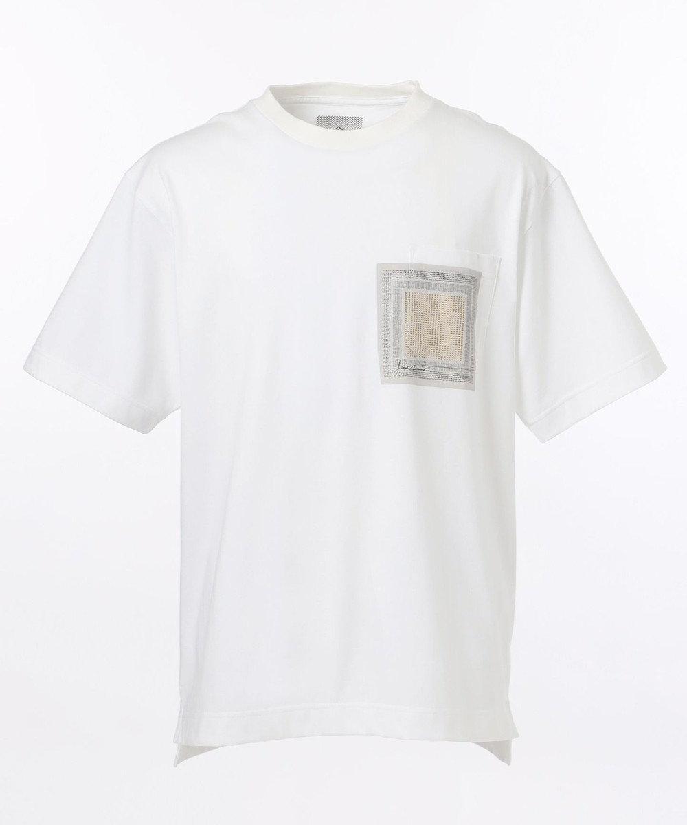 JOSEPH ABBOUD 【SPACE】OG綿スクエアドットプリント ポケTシャツ ホワイト系