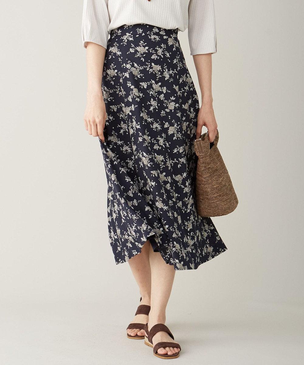 J.PRESS LADIES S 【洗える】ポリエステル デシンフラワープリント スカート ネイビー系5