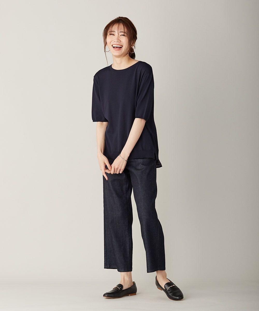 J.PRESS LADIES L 【洗える】シャインバックキュプラ ニット ネイビー系