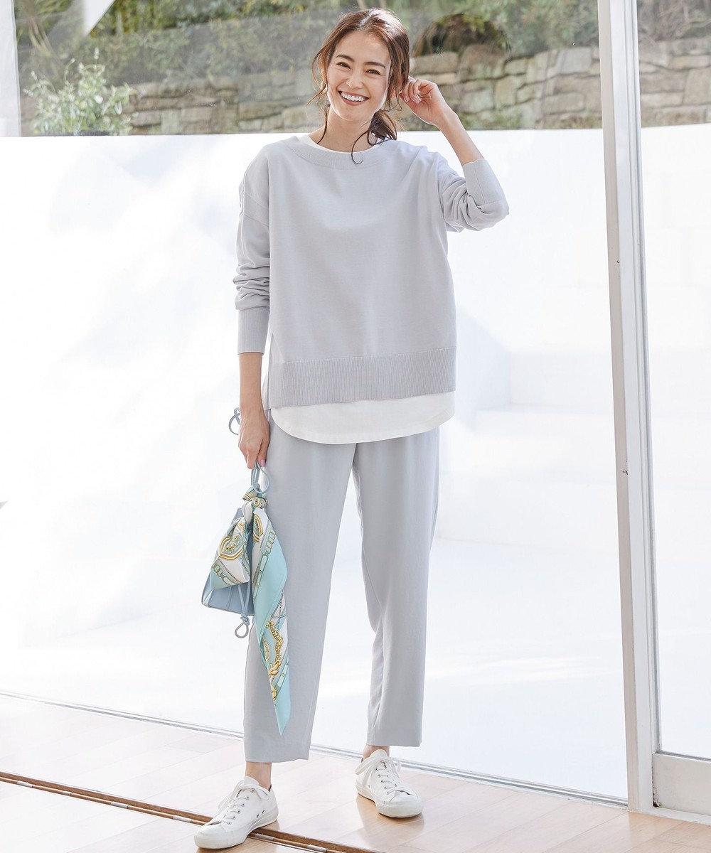 組曲 L 【洗える】コットンワイドシルエットプルオーバーニット サックスブルー系