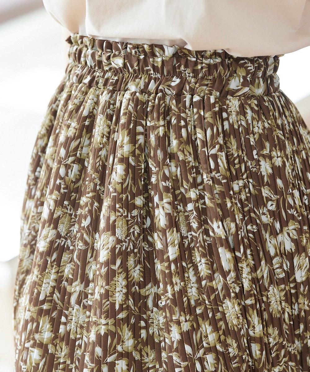 Tiaclasse 【洗える】大人上品なシフォンジョーゼットケシプリーツスカート ブラウン