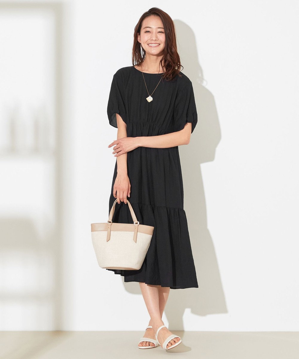 any SiS L 【洗える】イレヘムティアード ワンピース ブラック系