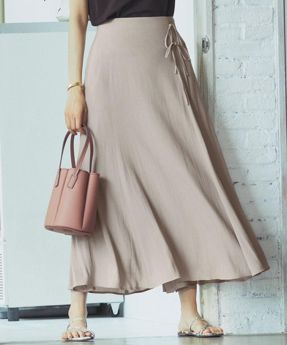 組曲 S 【洗える】アートタッチフラワープリント スカート(KM27) キャメル系