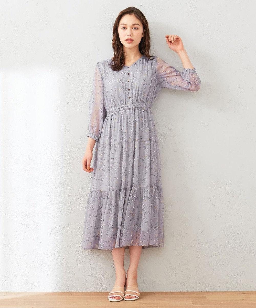 Feroux 【洗える】シャイニーチューリッププリント ワンピース ライラック系3