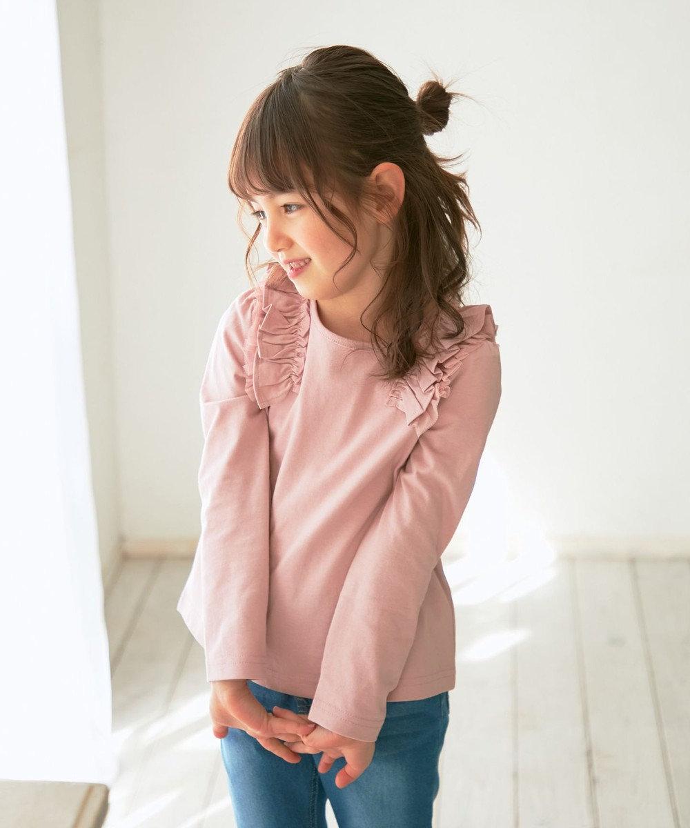 any FAM KIDS 肩フリル オーガビッツ 長袖Tシャツ ピンク