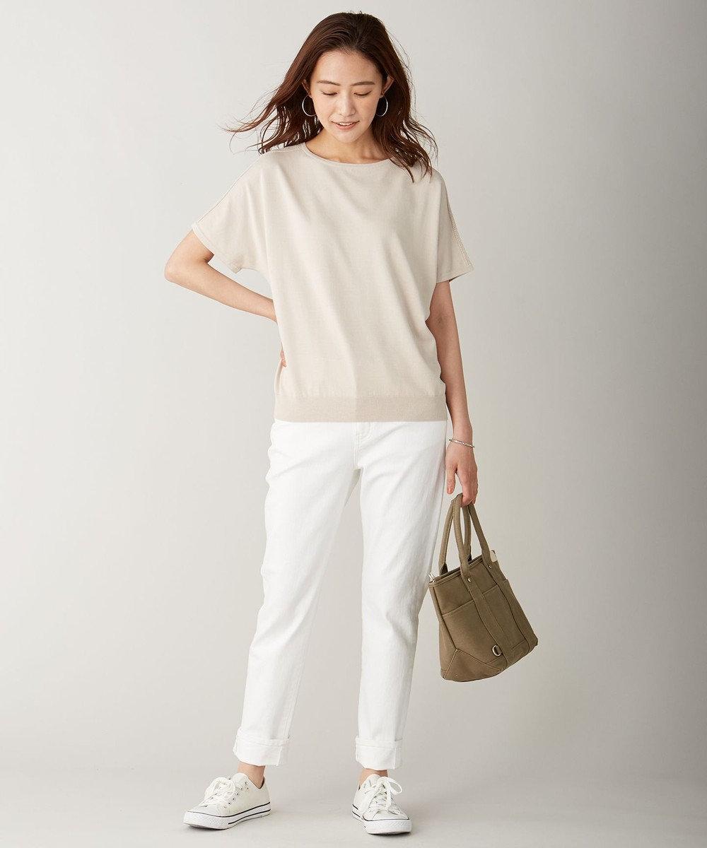 J.PRESS LADIES L 【UVカット・洗える】Functional Cotton Blend 袖レース ニット ベージュ系