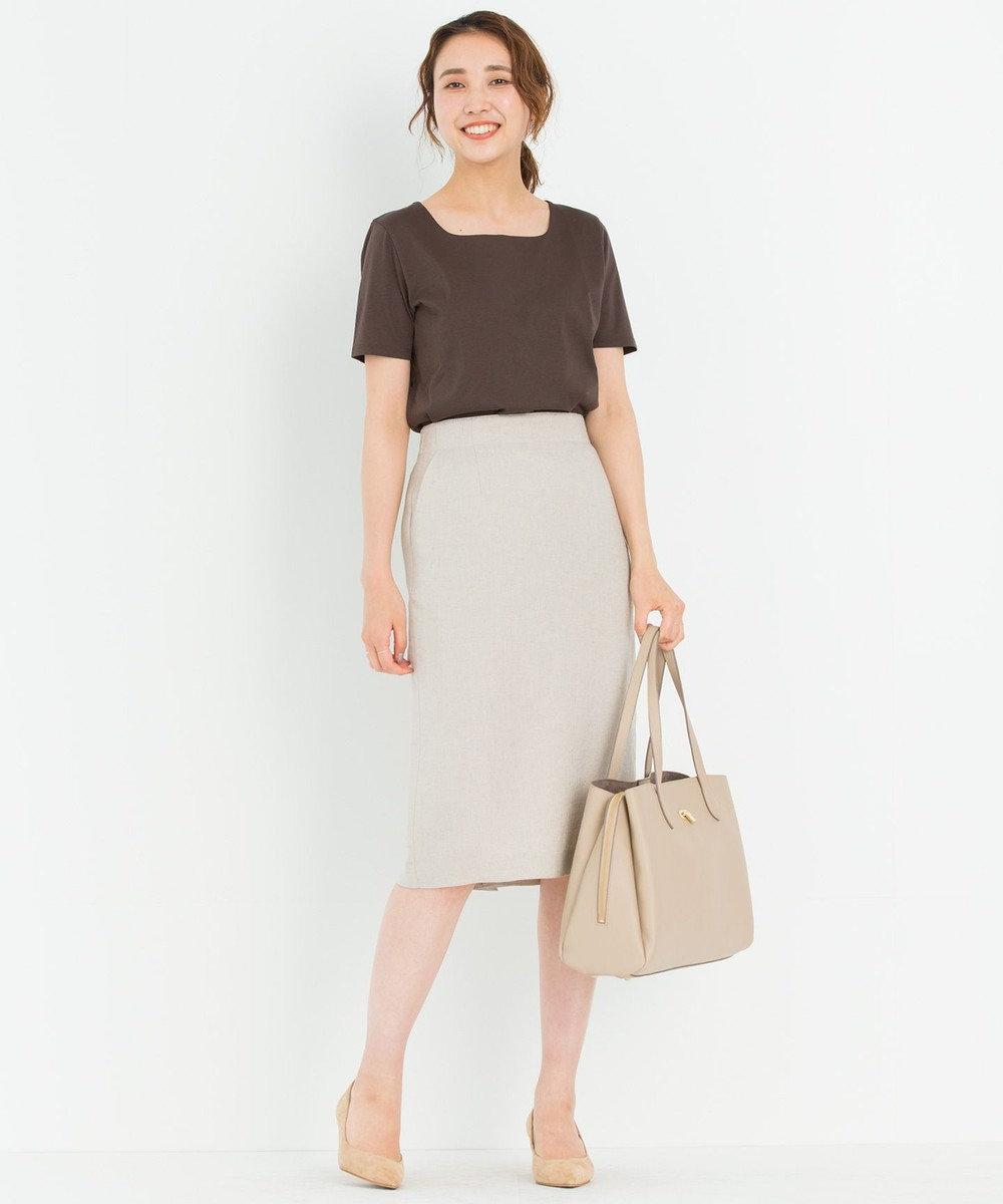 23区 L 【洗える】DOUBLE SMOOTH スクエア Tシャツ ダークブラウン系