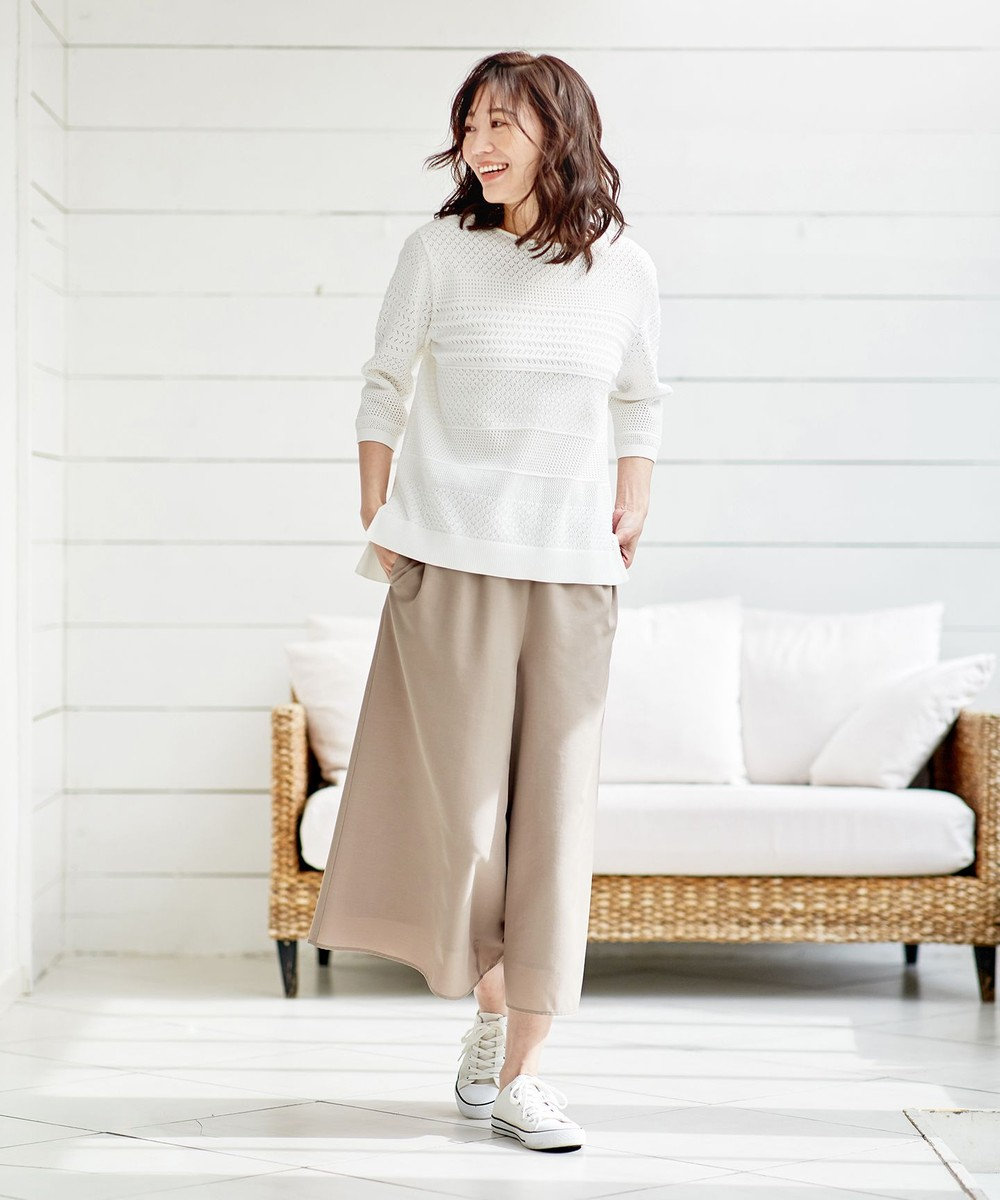 J.PRESS LADIES 【洗える】レーシーパターン ニット ホワイト系
