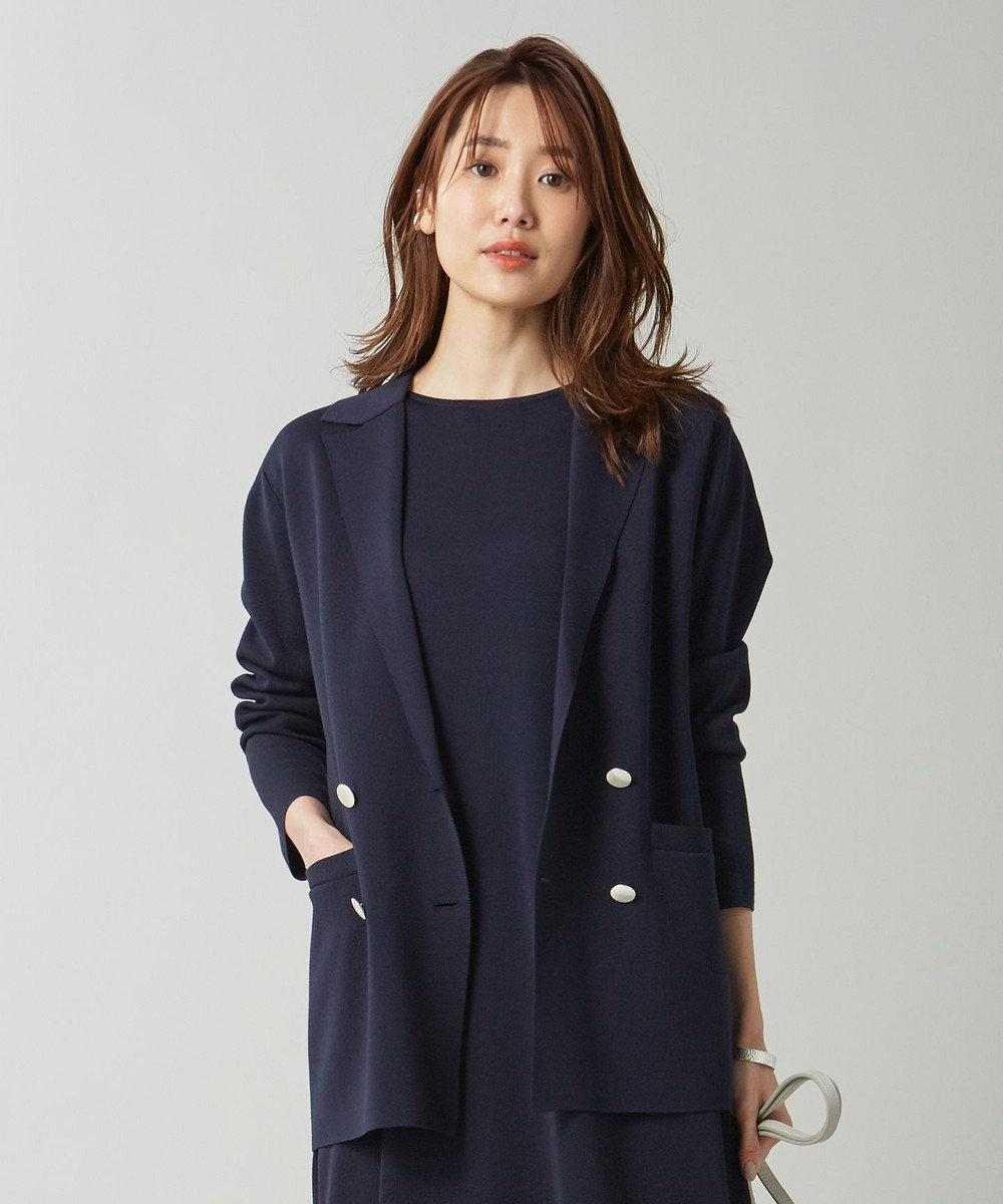 組曲 【セットアップ対応】ライトニットアップ ニットジャケット ネイビー系