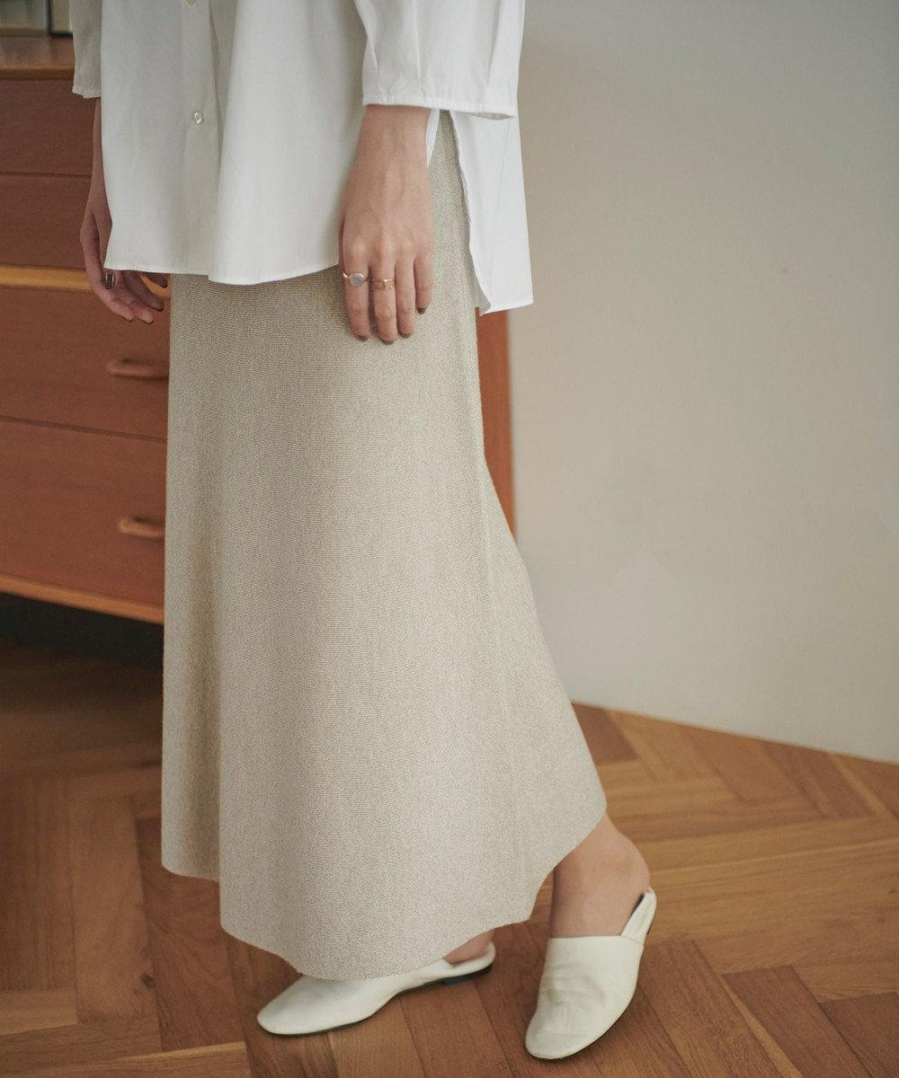 #Newans 【おうちで洗える】100%ウールニットスカート ベージュ系