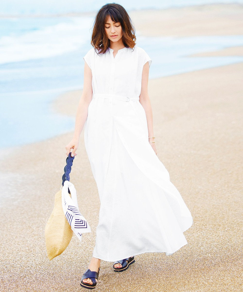 23区 【一部店舗限定】LIBECO シャツ ワンピース ホワイト系