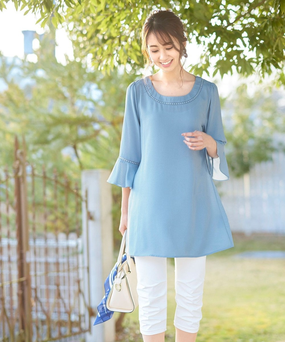 Tiaclasse 【洗える】大人フェミニンな麻調細巾レースチュニック ブルー