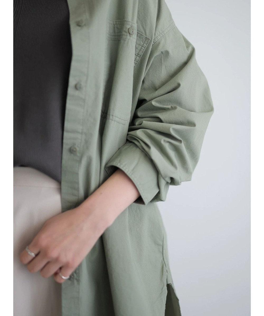 AMERICAN HOLIC スタンドカラー両ポケットシャツ Khaki