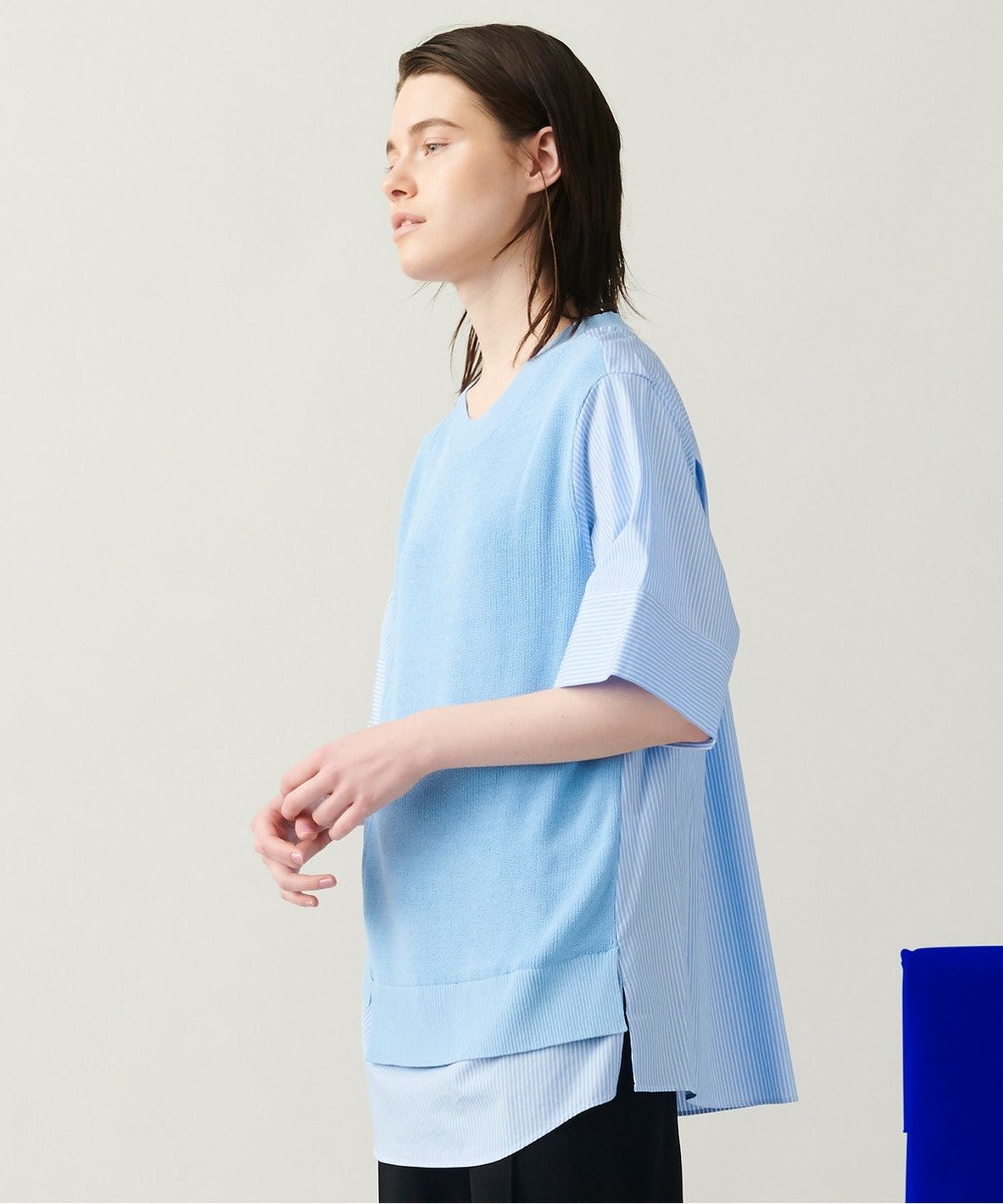 JOSEPH 【柚香 光さん着用・洗える】ニット/シャツ ラウンドネックコンビ サックスブルー系