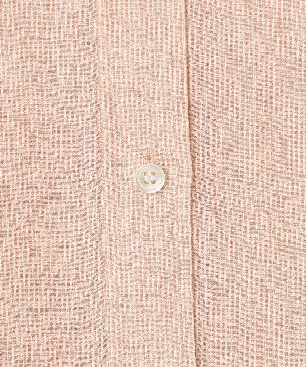 23区 L 【中村アンさん着用】LIBECO バンドカラー ビック シャツ(番号2K25) [一部店舗限定]ピンクベージュストライプ