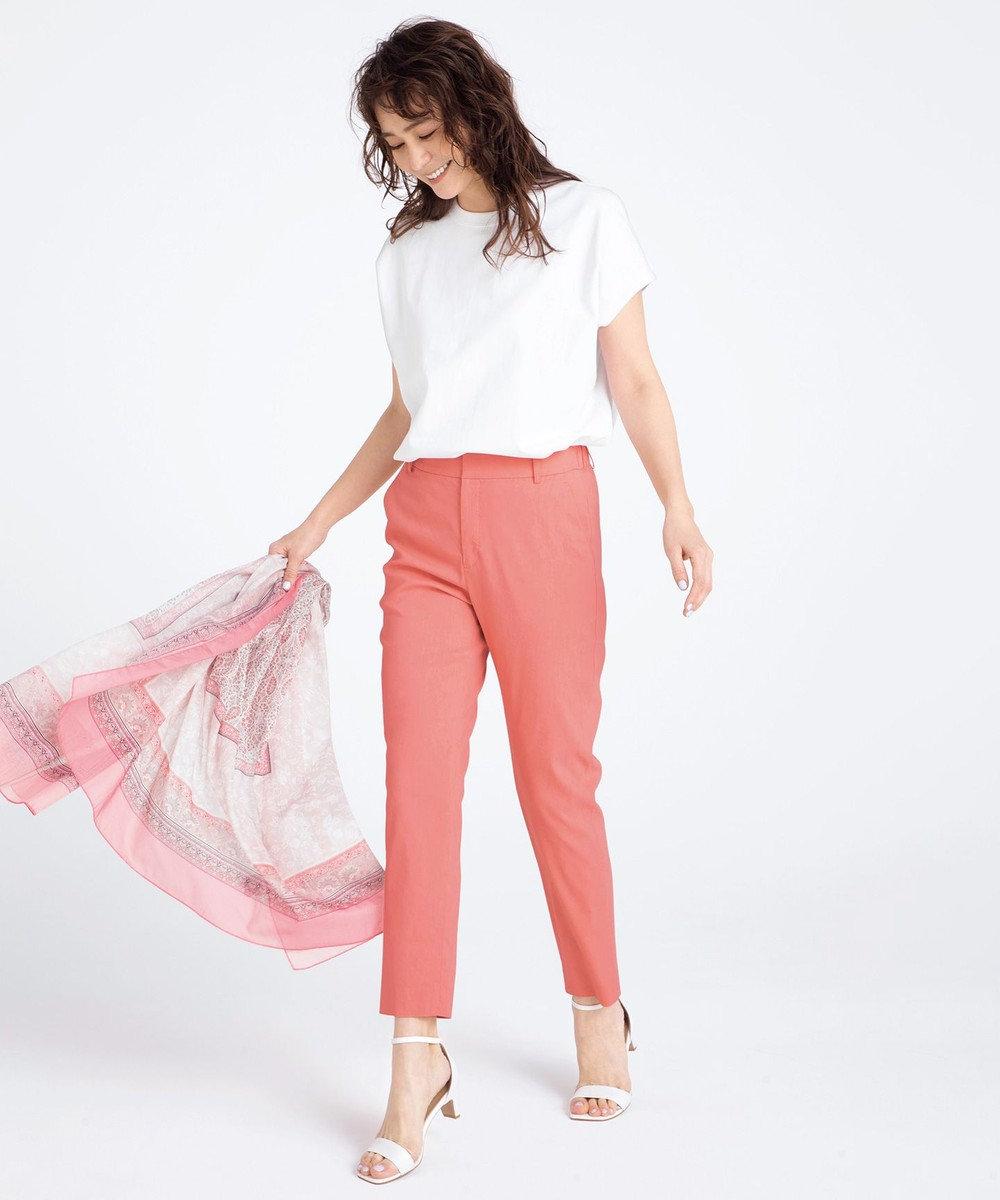 23区 【中村アンさん着用】リネンビスコーステーパード パンツ(番号H52) ピンク系