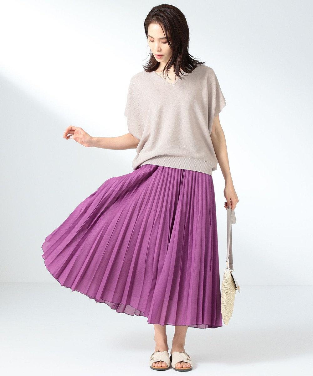 any FAM L 【優木まおみ着用】【洗える】ツイストボイルダブル  プリーツスカート ライラック系