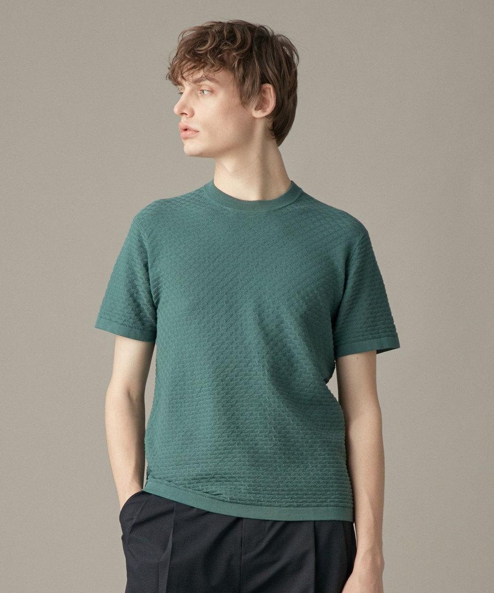 JOSEPH MEN クールコットンリンクス ニットTシャツ ピーコックグリーン系