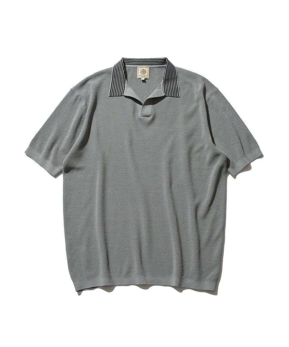 J.PRESS MEN ハイゲージニット スキッパー ボーダーポロシャツ グレー系