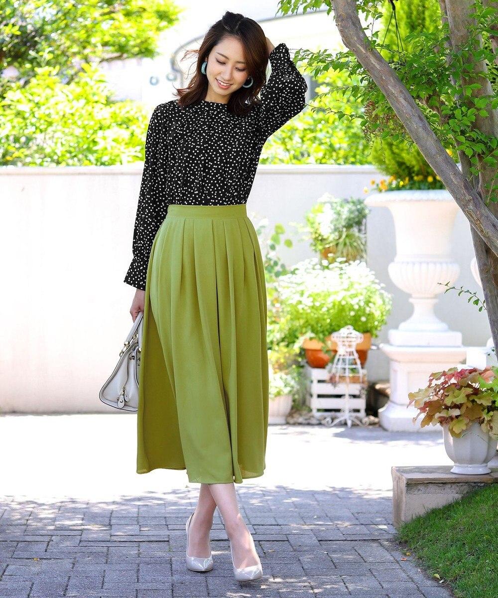 Tiaclasse 【洗える】きれい色で彩る、大人のマキシ丈フレアスカート ピスタチオグリーン