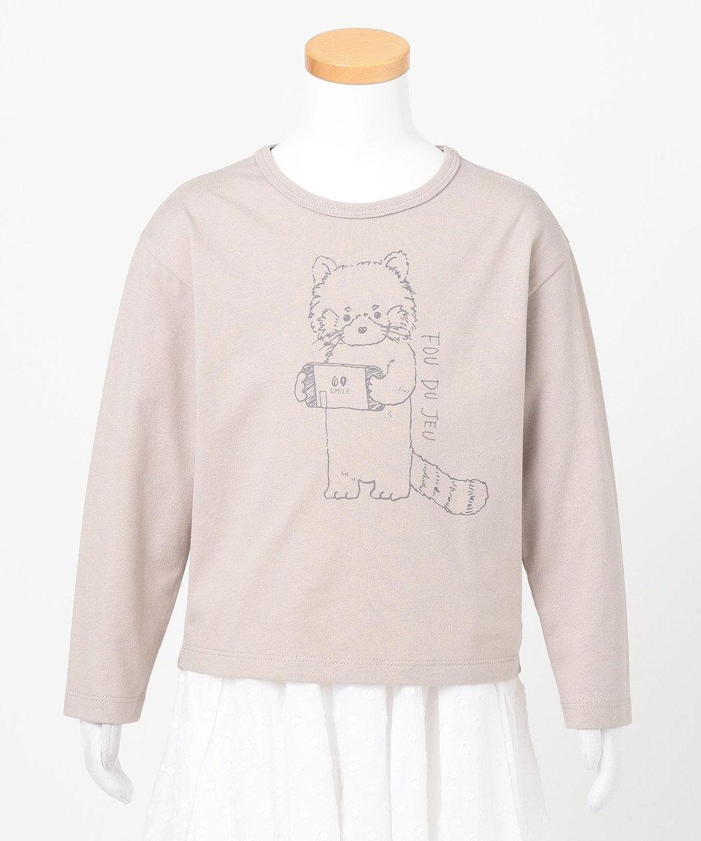 any FAM KIDS アニマル オーガビッツ 長袖Tシャツ ミルクティー(レッサーパンダ)