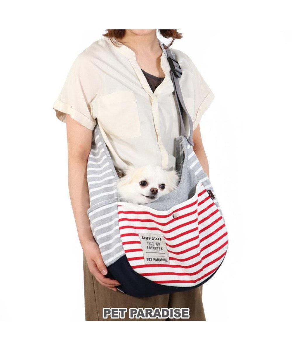 PET PARADISE 犬 キャリーバッグ ペットパラダイス ボーダー スリング 赤 緑 〔超小型犬〕 赤