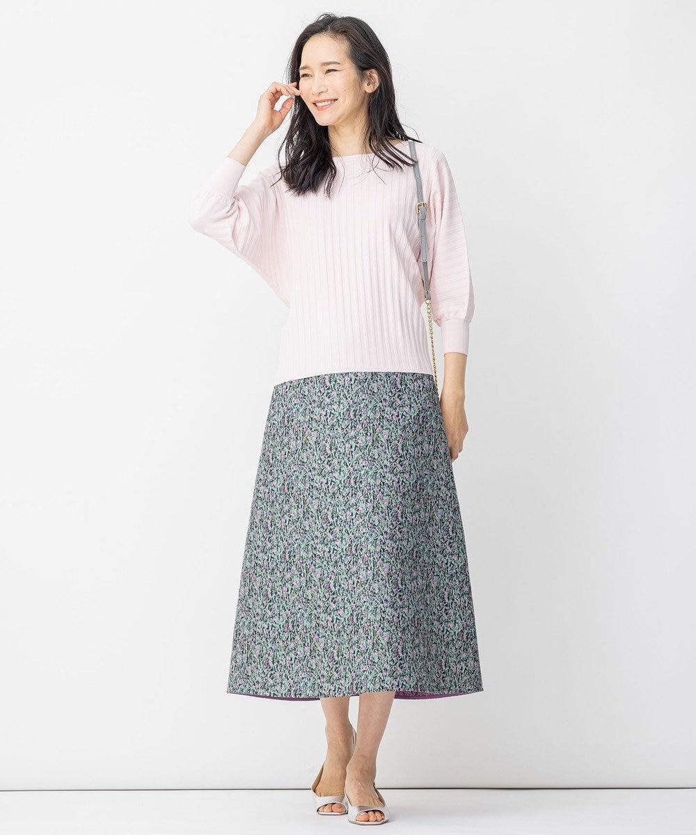 自由区 L 米沢ジャカード リバーシブル スカート グリーン系5