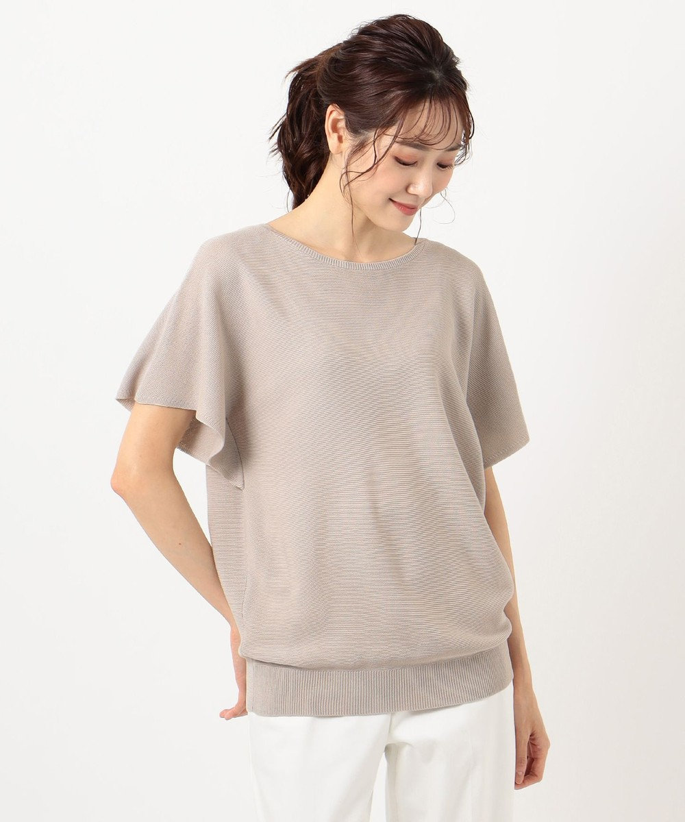 any FAM L 【洗える】ウォッシャブルガーターニットTシャツ ベージュ系