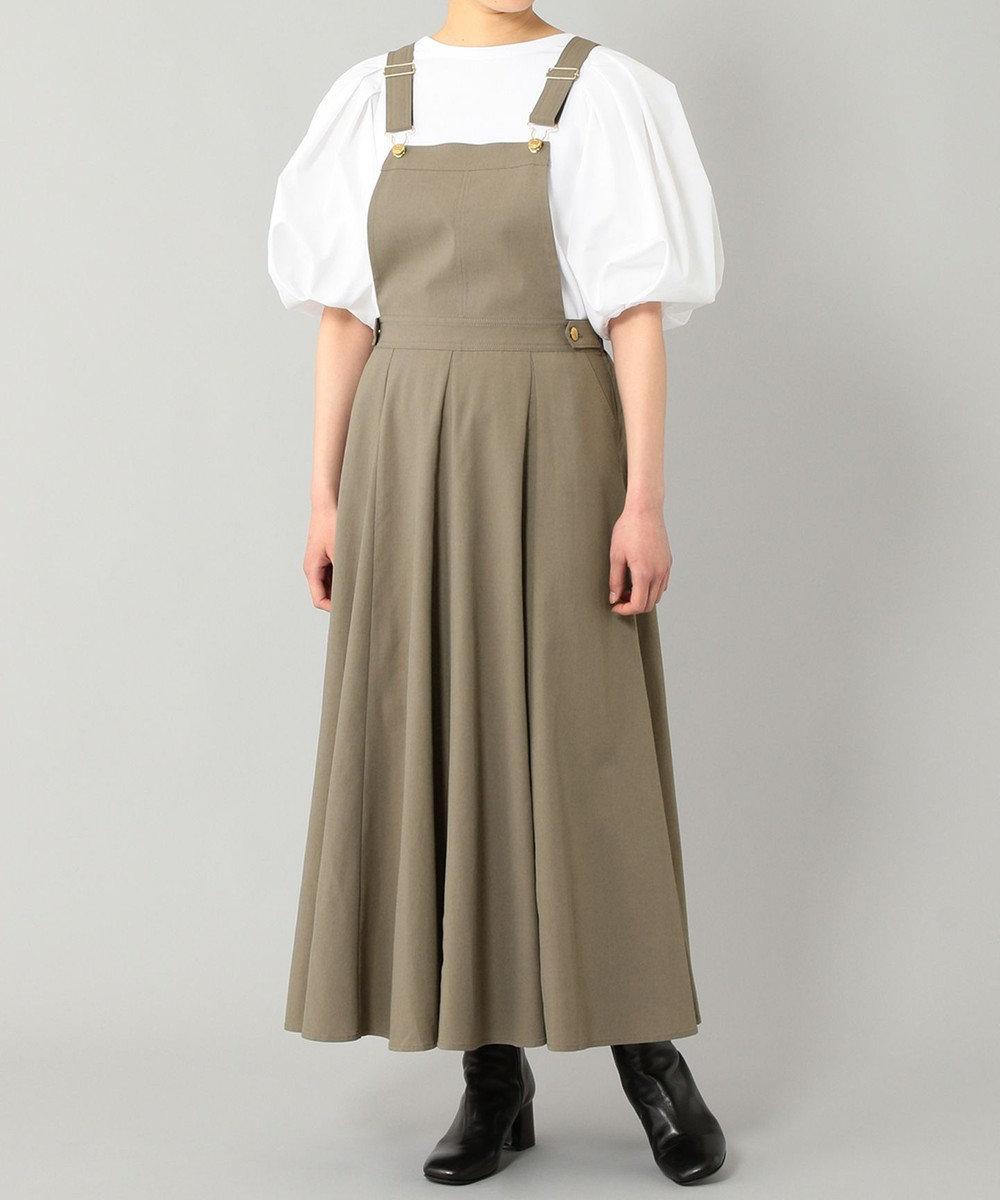 GRACE CONTINENTAL フレアジャンパースカート カーキ
