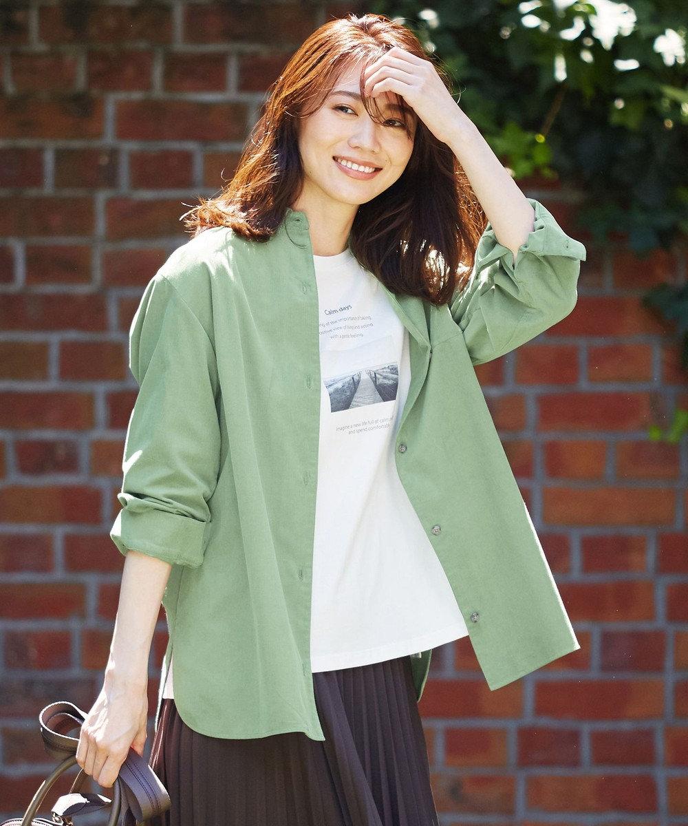 J.PRESS LADIES 【洗える】コットンシャツコール ブラウス スモーキーグリーン系