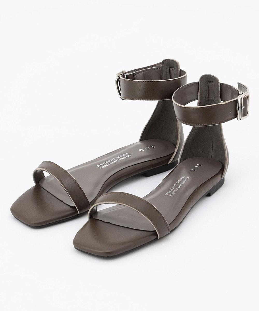 ICB 【マガジン掲載】 Ankle Belt  サンダル(番号CH57) ダークブラウン系