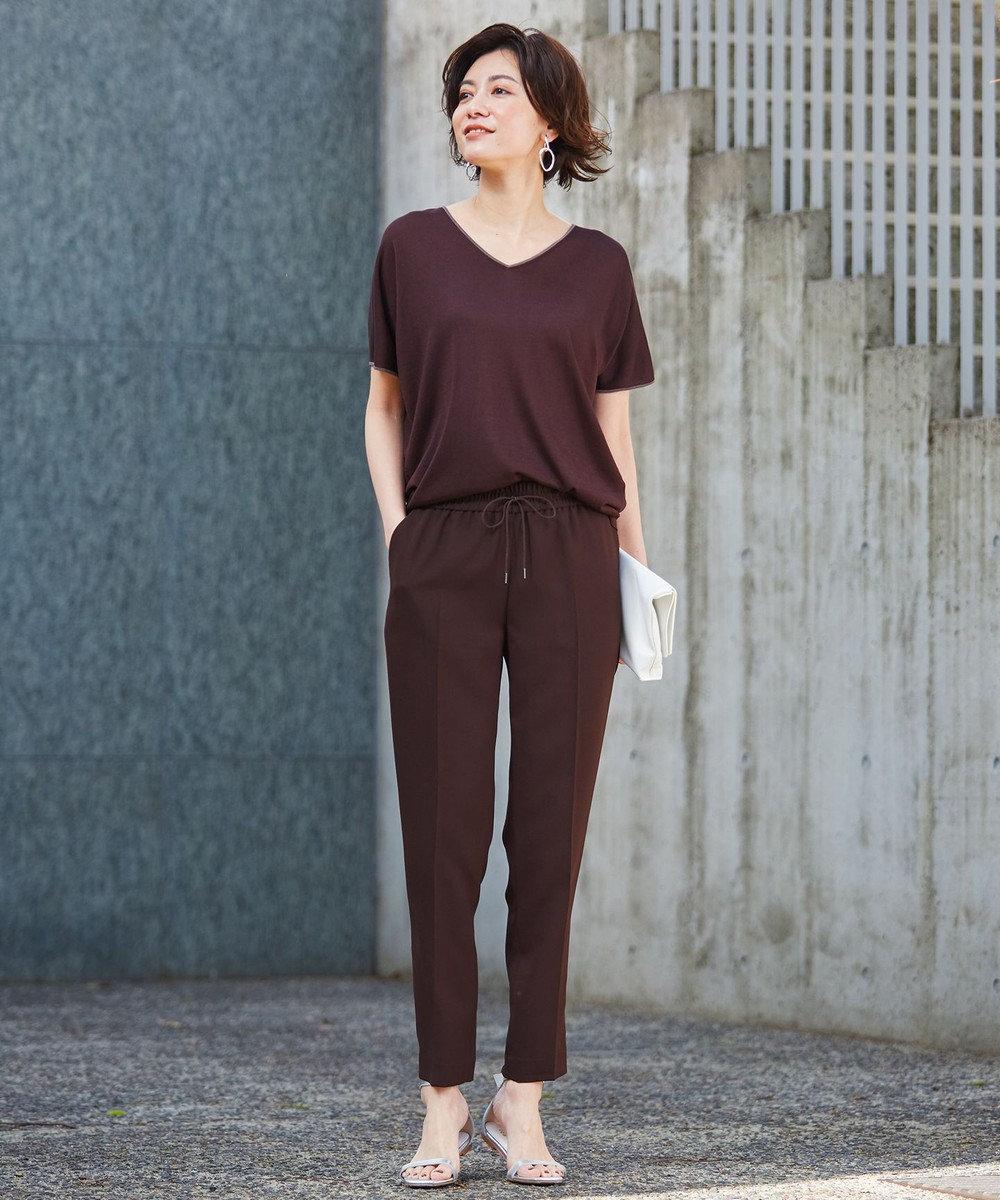 ICB 【WEB限定カラーあり】Synthetic Yarn 半袖 ニット ブラウン系