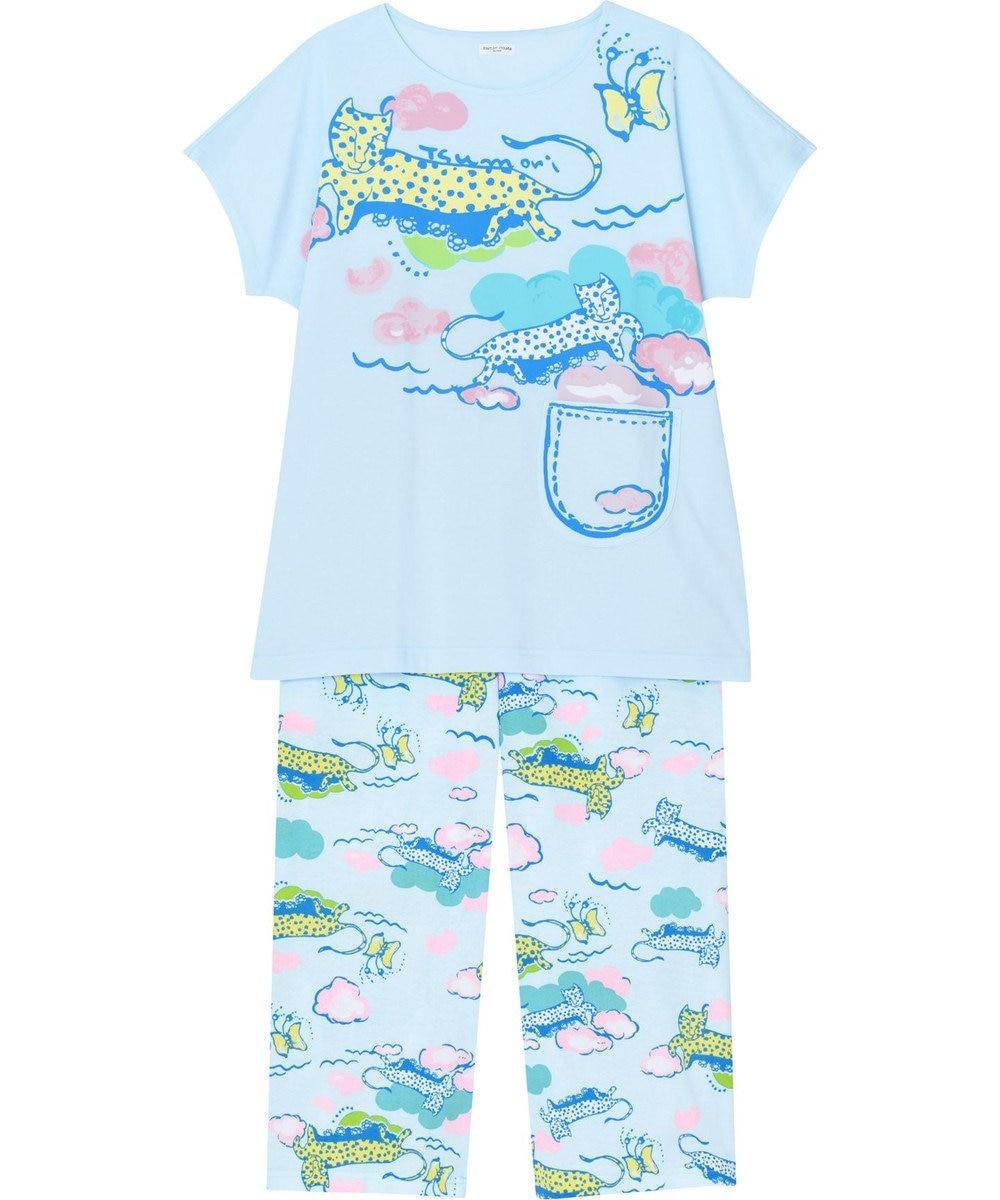 tsumori chisato SLEEP パジャマ 3分袖8分パンツ レオパードと蝶々 /ワコール UDP375 ブルー