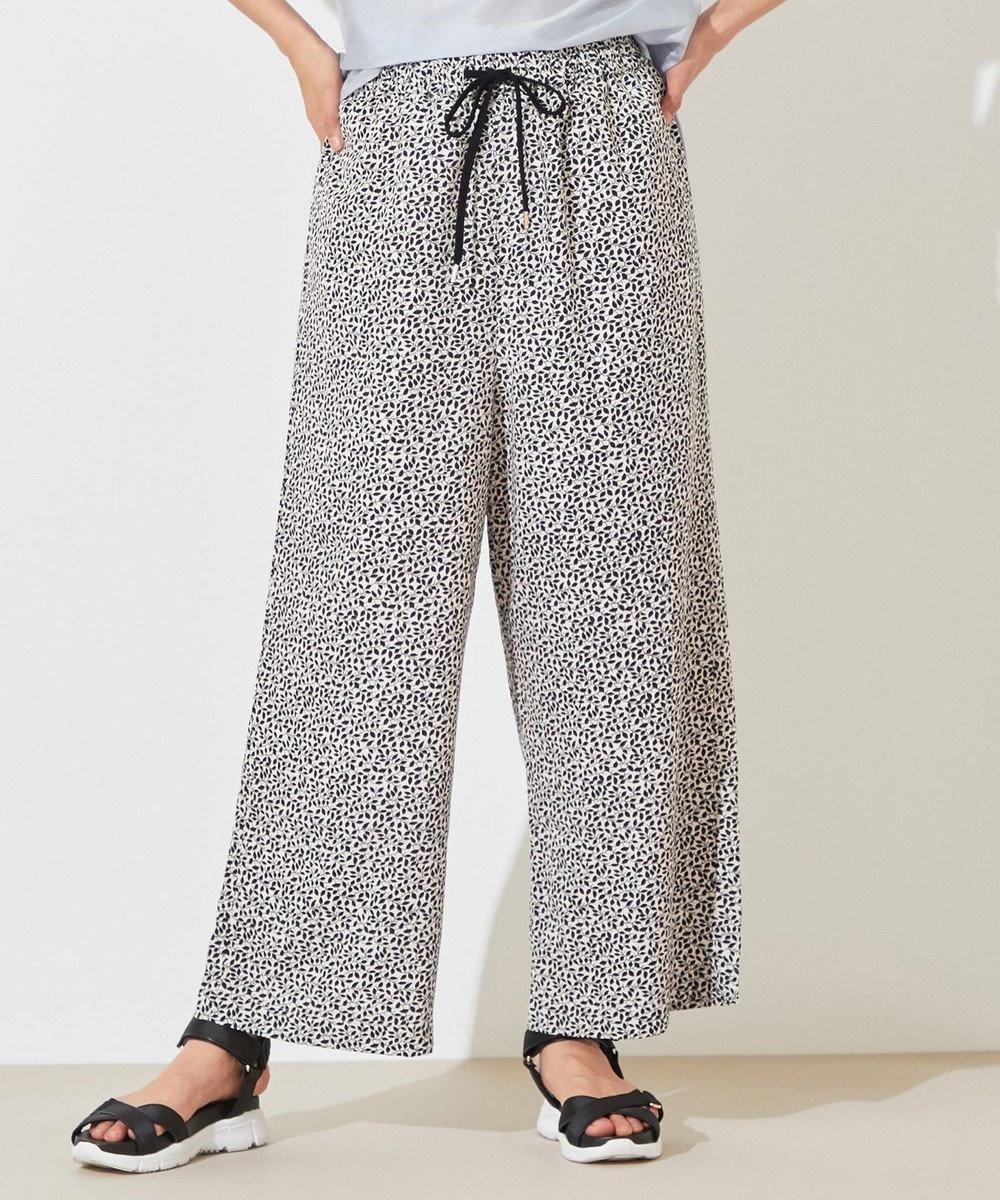 any SiS 【洗える】リーフプリント パンツ ブラック系