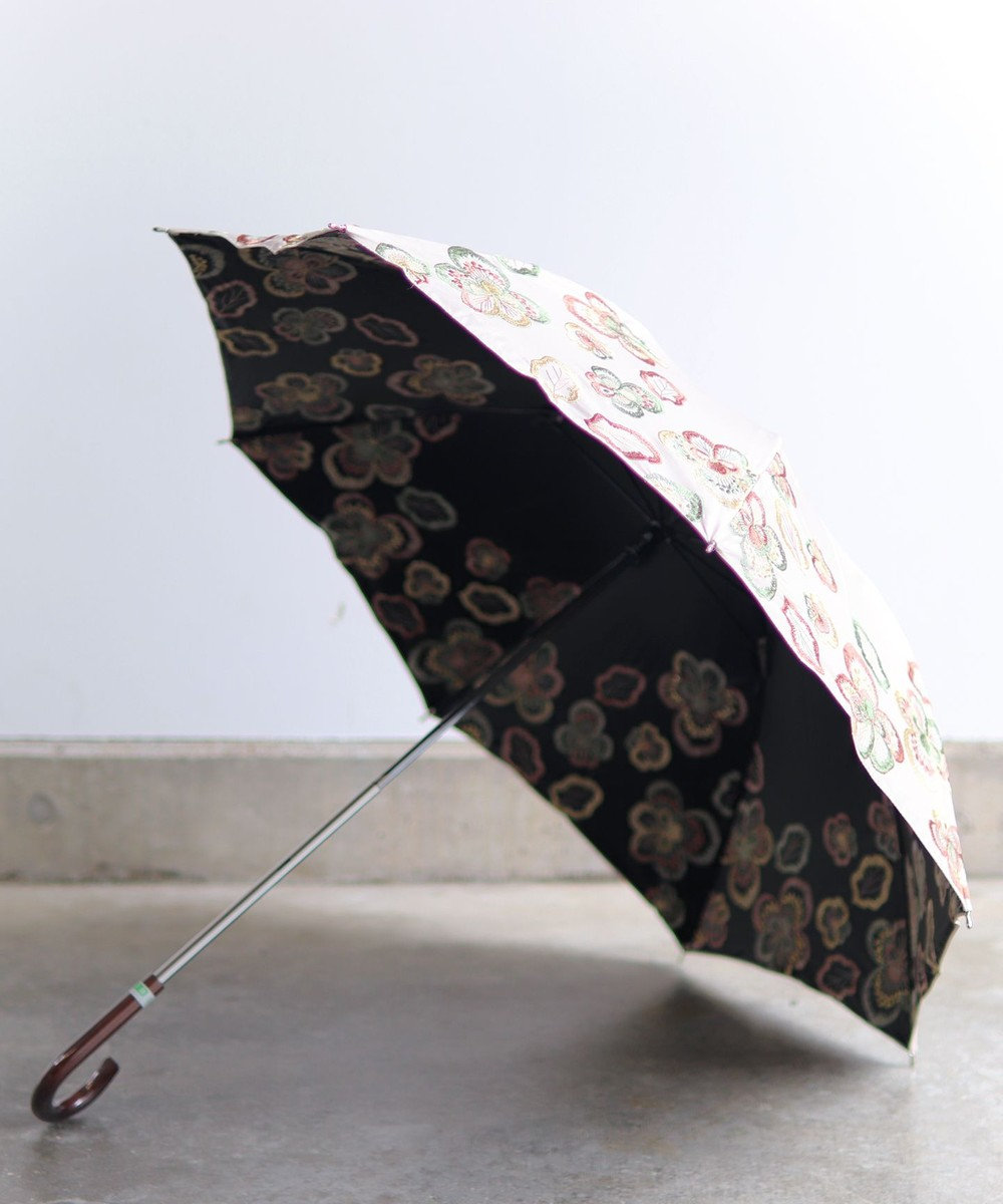 AND WOOL 【1級遮光生地】ビオラ 刺繍の晴雨兼用日傘 ピンク