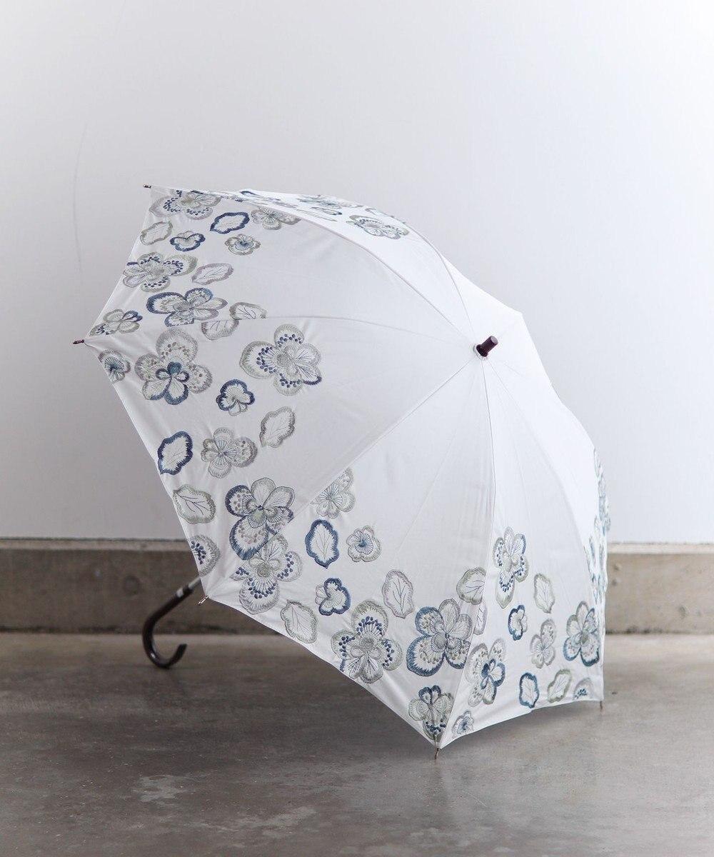 AND WOOL 【1級遮光生地】ビオラ 刺繍の晴雨兼用日傘 ホワイト