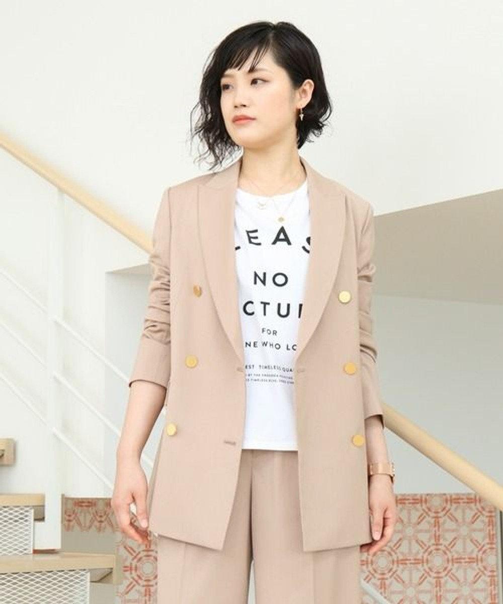 KASHIYAMA EASY 【受注生産】<WASHABLE>T/Rツイルストレッチダブルジャケット(サイズ3号~25号) ベージュ