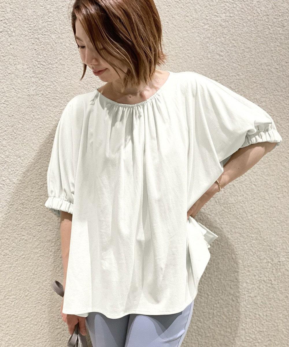 UNFILO 【撥水・汗シミ防止・接触冷感 】袖ギャザー UP Tシャツ ホワイト系