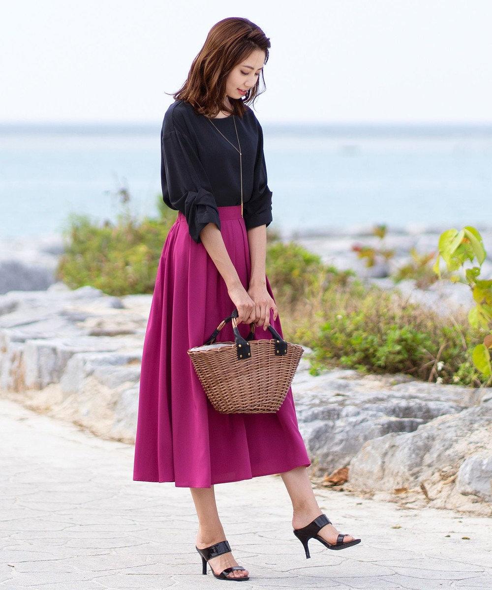 Tiaclasse 【洗える】きれい色で彩る、大人のマキシ丈フレアスカート パープル