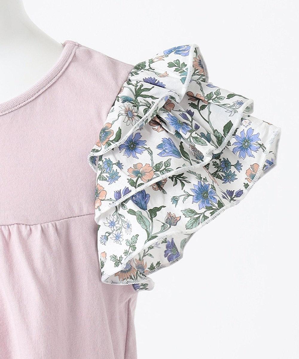 any FAM KIDS フリルスリーブ花柄Tシャツ ライラック系