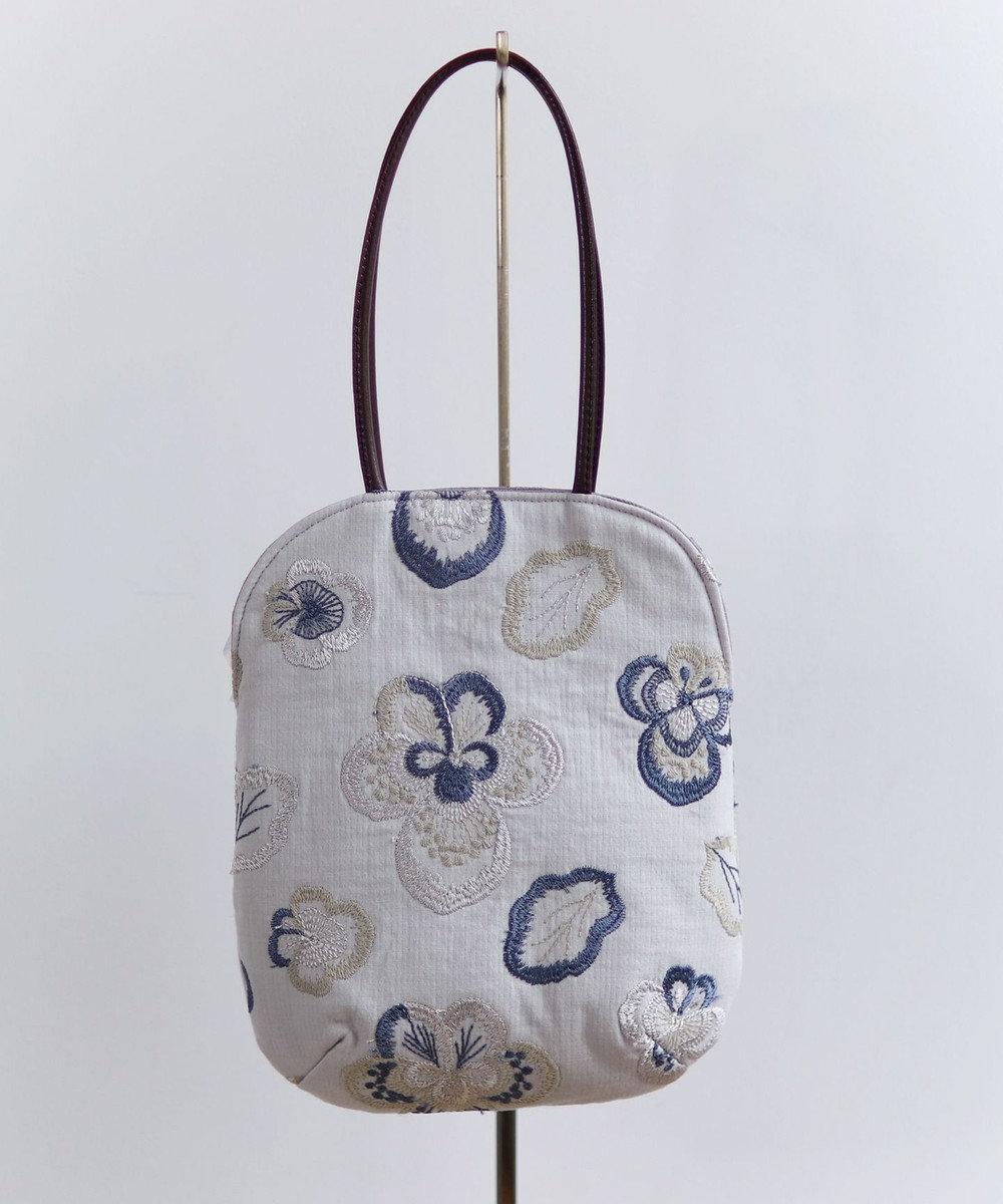 AND WOOL ビオラ刺繍のminiバッグ ライトグレー