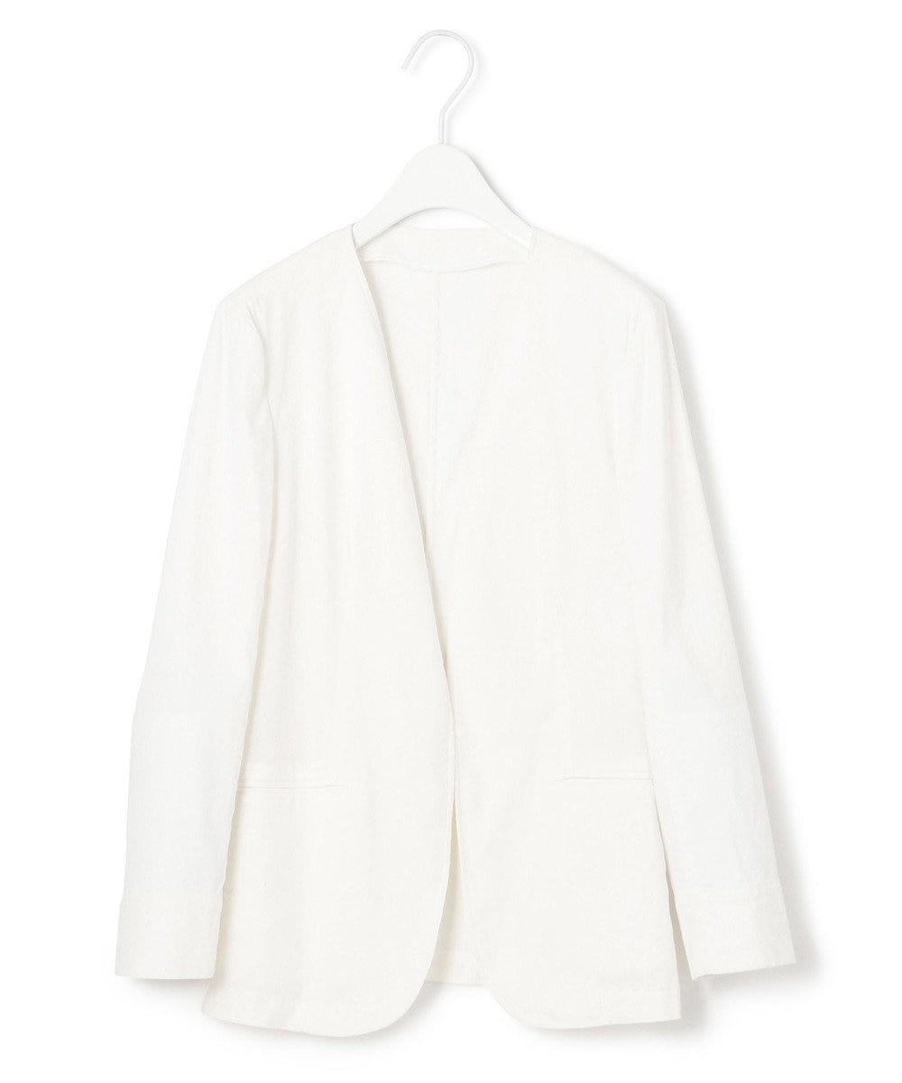 23区 S 【洗える】リネンヴィスコース ストレッチ ジャケット ホワイト系