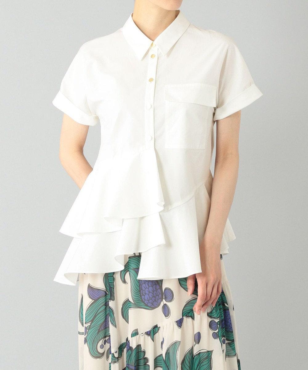 GRACE CONTINENTAL ヘムフリルシャツ ホワイト