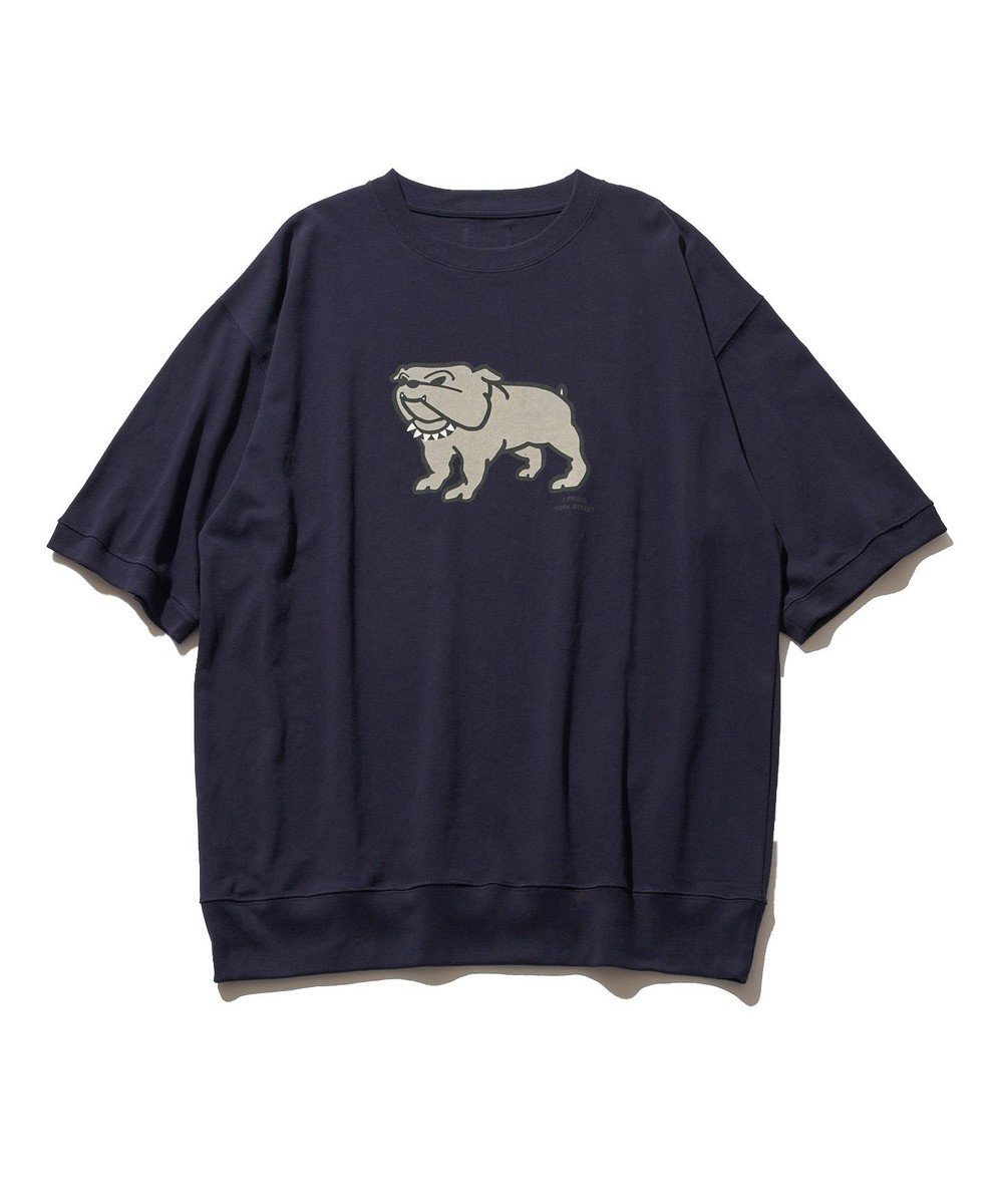 J.PRESS YORK STREET 【UNISEX】ブルドッグプリント Tシャツ ネイビー系